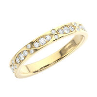 3mm Pave Set Round Brilliant Cut Diamonds Half Eternity Ring in 9K Yellow Gold