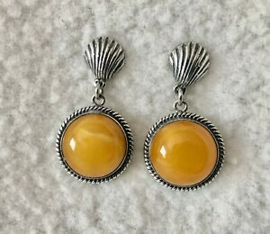 Butterscotch Amber & Sterling Silver Earrings from Poland c. 1990 Egg Yolk Amber