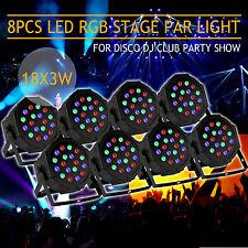 8Pcs DMX512 PAR38 54W 18 LED Light RGB Stage Lighting Party DJ Disco Strobe Show