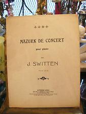 Partition Mazurk de Concert pour Piano Par J Switten