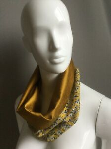 Snood Cowl Circle Scarf Liberty Viscose Handmade Reversible Yellow Gold Blue