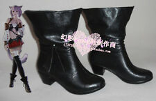 Final Fantasy 14 Miqo'te Black Short Girls Cosplay Shoes Boots H016