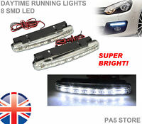 2x 8 LED Daytime Running Lights XENON White SUPER BRIGHT Bulbs Waterproof NEW UK