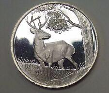 {BJSTAMPS} White Tail Deer 1oz .999 Fine Silver Proof like ENGRAVABLE