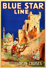 Travel Blue Star Line Mediterranean Cruises ship  Holiday Poster Print
