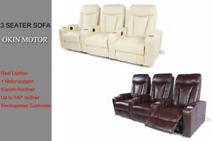 Electric Recliner Chair Sofa Leather 3 Seater Electroplated Cupholder OKIN Motor