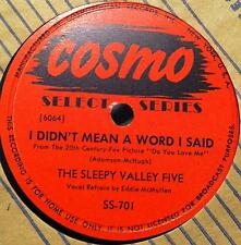"""THE SLEEPY VALLEY FIVE two timin girl - i didn't mean a word i said 10""""  VG+"""