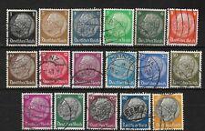 Nazi Germany 1933-36 Hindenburg set of 17 stamps swastika w/marks
