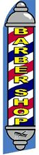 WINDLESS BANNER   BARBER SHOP FLAG INCLUDING A ALUMINIUM POLE + BASE SET.BARBER