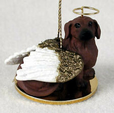 Dachshund Dog Figurine Angel Statue Red