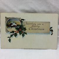 Vintage Postcard A Merry Christmas Greeting 6 Six Design