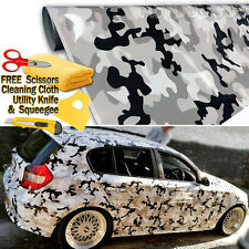 "96"" x 60"" Snow Camo Camouflage Vinyl Film Wrap Decal Air Bubble Free 8ft x 5ft"