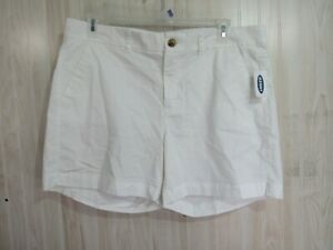 New Old Navy Shorts Size 16 White Flat Front Button Zipper Pockets Casual