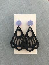 Dangle Earrings Gatsby Art Deco, Purple Glitter Acrylic Black Wood Surgical Stud