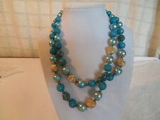"beaded necklace 18"" Japan Vintage two strand blue"
