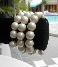 Vintage 60s Cream Beads Bracelet Costume Jewelry