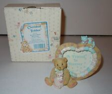 Cherished Teddies Boy Heart Shaped Photo Frame - 910783 - 1992 - New