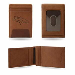 Denver Broncos - NFL - Brown Leather Money Clip Front Pocket Wallet