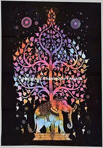 Éléphant Indien Tapisserie Psychédélique Mandala Art Hippie Tenture Murale Plage