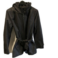 7 For All Mankind Jacket Belted Removable Hood Size M Black Women's Anorak