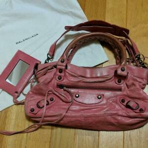 BALENCIAGA First Hand Tote Shoulder Bag Leather Rose Pink Used W/ Mirror