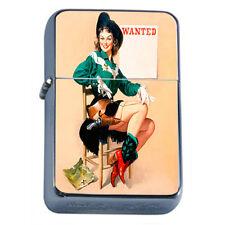 Windproof Refillable Fliptop Oil Lighter Classic Vintage Model Pin Up Girl D-116