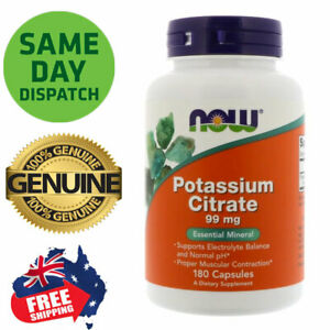 Potassium Citrate NOW Foods 99 mg, 180 Capsules Essential Mineral
