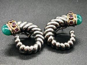 David Yurman Sterling 14K Shrimp Green Onyx & Pink Tourmaline Earrings
