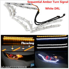2x Switchback 2 Color LED Strip Lights&Sequential Signal For Headlight Retrofit