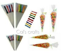 Clear Cellophane Cone Bags Sweet Party Favour Gift cello & Polka Dot Ties