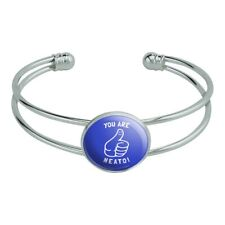 You Are Neato Cool Funny Humor Novelty Silver Plated Metal Cuff Bangle Bracelet