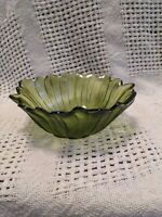 Vintage Green Glass Flower Shaped Candy Dish Scalloped Edges