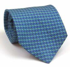"Thomas Pink Tie Mens Silk Tie Blue With Green Bird Pattern 57"" Long 3.5"" Wide"