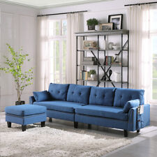 Modern 4-Seat Reversible Sectional Sofa Couch for Living Room W/ Storage Ottoman