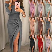 Women Off Shoulder Long Sleeve Bodycon Dress Split Wrap Evening Party Gown Dress