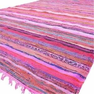 Indian Pink Chindi Rug Floor Yoga Area Rag Rug Mat Carpet Hand-Woven Home Decora