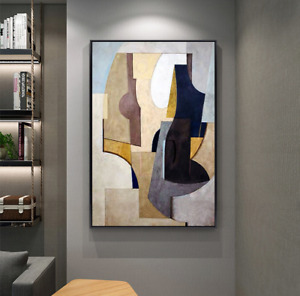 LL385 Modern Home abstract Geometry Large Hand-painted oil Painting Unframed