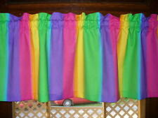 Rainbow Lime Green Pink Purple Orange Yellow fabric curtain topper Valance