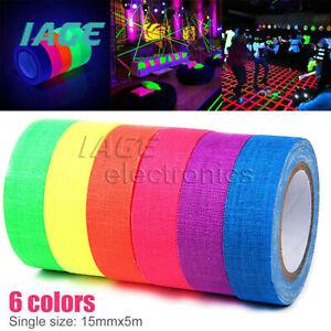6 Rolls UV Blacklight Fluorescent Tape Neon Rainbow Gaffer Spike Sticky Cloth