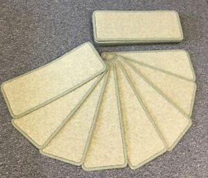"""CARPET STAIR PADS/TREADS, PALE GREEN, QUALITY, WOOL, 20"""" x 8"""" set of 14"""
