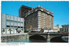Hotel Mapes Reno Nevada Casino Bridge over Truckee River Plastichrome Postcard v