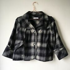TOPSHOP Ladies Cropped Jacket 14 Black White Check Cropped Work Office 3/4 Slvs