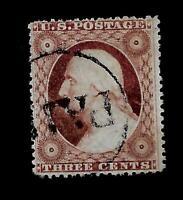 US 1857  Sc# 26 Washington  USED  - Paid Cancel  - Centered
