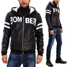 Men's jacket jacket jacket eco-leather bomber hood echo fur F109