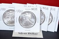 1991 Silver American Eagle BU Coin 1 oz US $1 Dollar Uncirculated Mint Brilliant