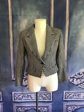Yves St Laurent VARIATION Houndstooth Plaid Wool Crop Jacket LARGE Wool Town&Co