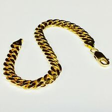 "14k Solid Yellow gold Miami Cuban Curb Link mens bracelet 7.5"" 28 grams 8MM"