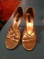 "Stylish gold patent ASOS peeptoe shoes, 37, 4, 3"" heels vgc."