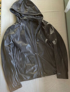 Z Zegna Mens Lambskin Leather Hooded Jacket - Size L - 52