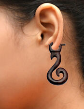 S Design Dangler Tribal Wooden Earrings Ear118 A Pair of Black Natural Wood Usa